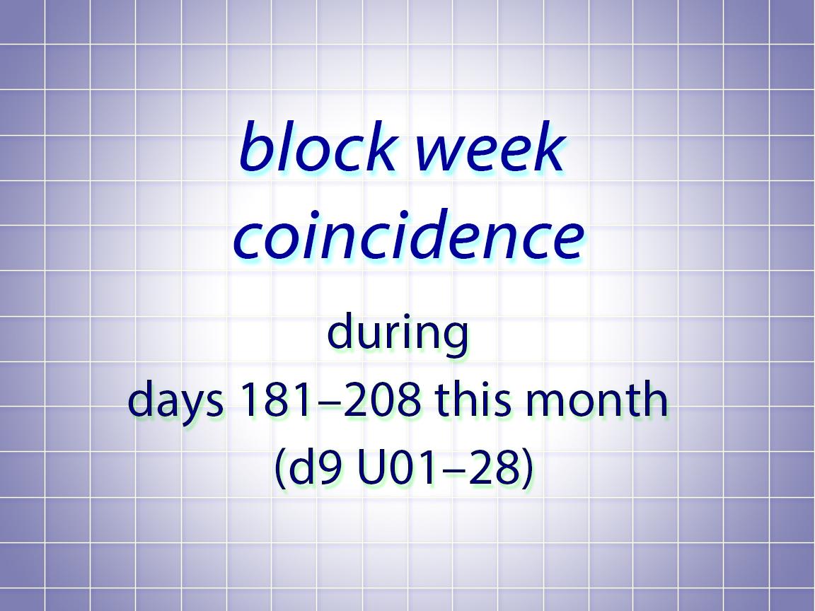 block week coincidence d9U